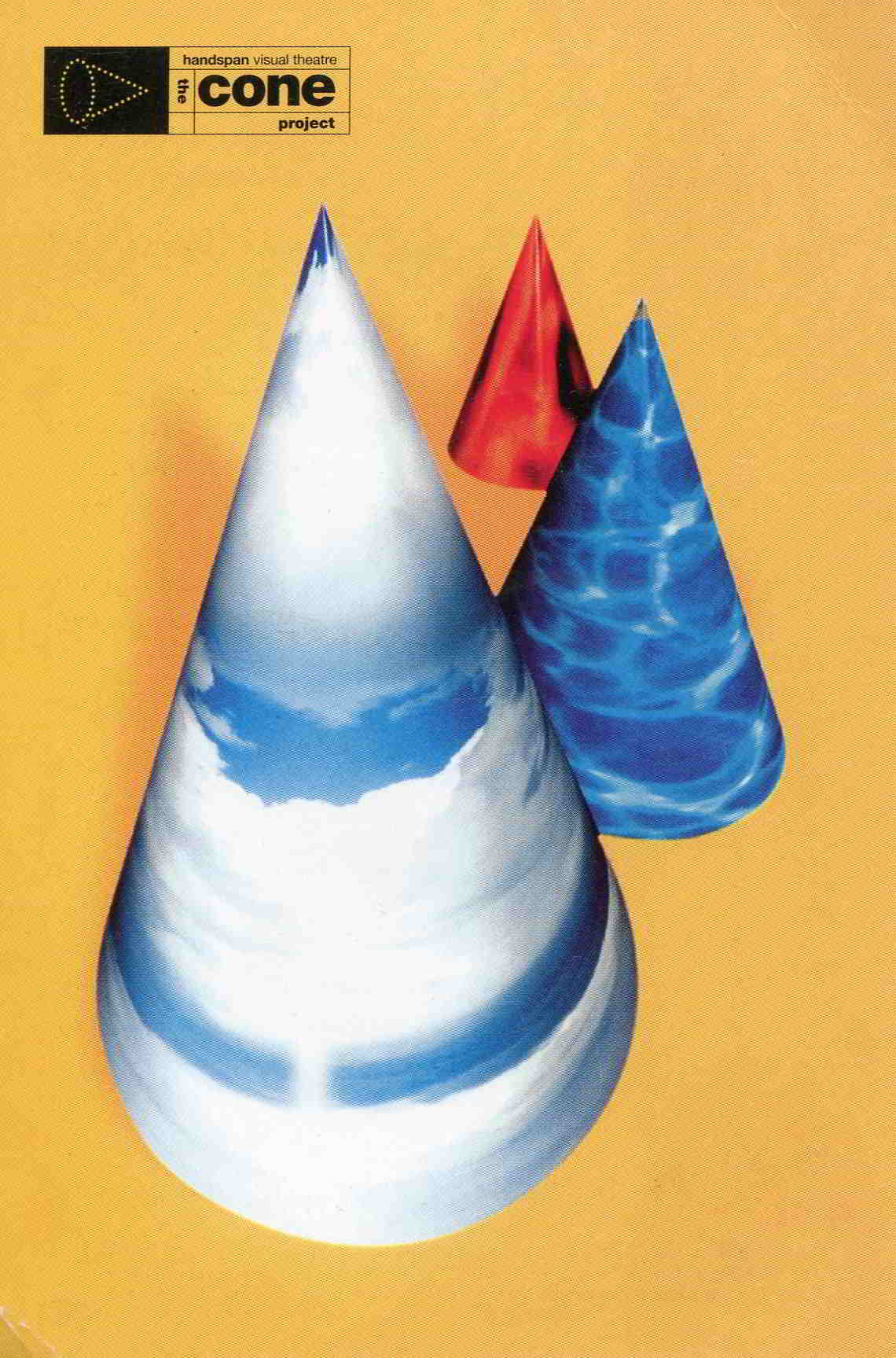 Cone Project promotional postcard blue and red cones on orange background